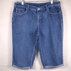CHRISTOPHER & BANKS Denim Blue Capri Pants Size 14